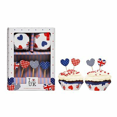 Premier Housewares I Love UK Cupcake Cases and Toppers - 48 Piece