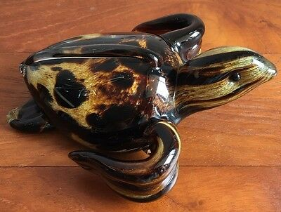 Large Langham Art Glass Turtle Paperweight Original Label And Signature To Base