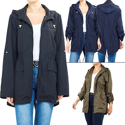 Womens RainCoat Plain Hooded Ladies Jacket Kagool Parka Long Sleeves Two Pockets