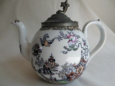 Vintage English Porcelain Chinoiserie Teapot With Pewter Lid