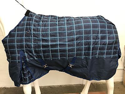 600D NAVY CHECK/NAVY 300g STABLE HORSE RUG - 5' 9