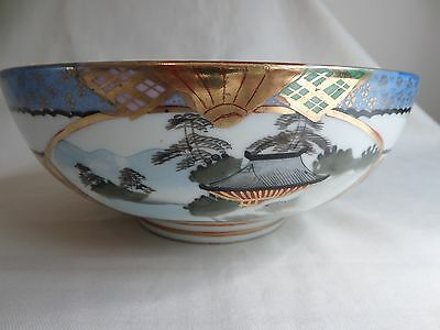 Antique Japanese Satsuma Porcelain Bowl With Panels Painted Scenes And Gilded