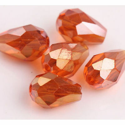 50pcs Faceted Teardrop Glass Crystal Charm Finding Loose Spacer Beads 8*6mm