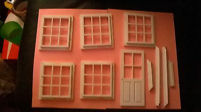 DOLLS HOUSE FIXTURES -5 x 9 PANE GEORGIAN WINDOWS & DOOR WITH FRAME (no glazing)