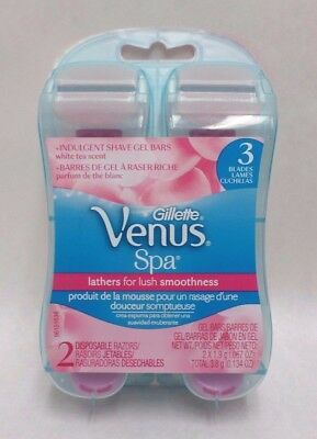 Gillette Venus Spa 2 Disposable Razors 3 Blades with White Tea Scented Gel Bars