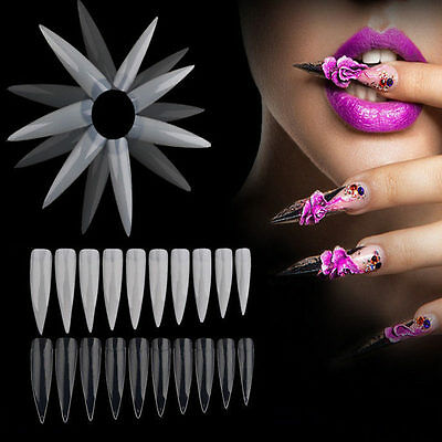 500x Longue Capsules Tips Stiletto Acrylique French Faux Ongle Manucure Nail Art