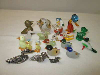 Mixed Lot of Miniature Duck Figurines Ceramic Glass Pewter Brass Stone Carved