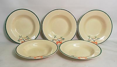Set Of Five 1930's Art Deco Clarice Cliff 'ravel' Soup Bowls