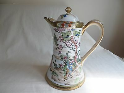 Art Deco Noritake Coffee/chocolate Pot Figures In Country Scene And Gilded