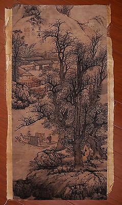 Awesome Rare Old Paper Chinese Landscape Hand Painting Marks PP884