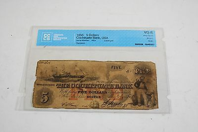 1856 The Cochituate Bank of Boston $5 Five Dollar Bill Currency Note VG-8