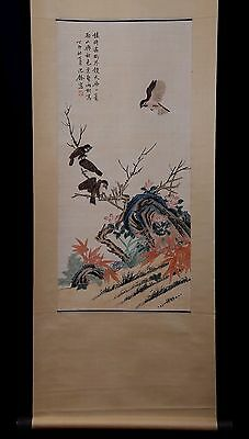 Long Rare Chinese Scroll Hand Painting Birds Flowers ShenQuan Marks PP617