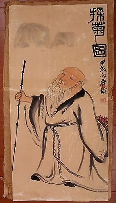 Awesome Long Old Chinese Paper Hand Painting Old Man Marks QiBaiShi KK406