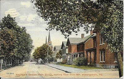 Residence Main St looking East Monogahela PA nice postcard postally used in 1913