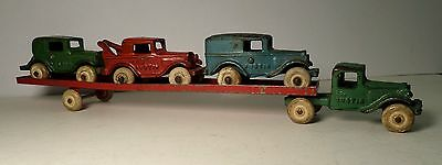 Antique Arcade Cast Iron Austin Car Hauler Truck Trailer Toy