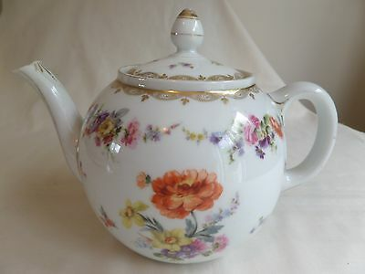 Vintage Dresden? Porcelain Floral And Gilded Teapot With Blue Crown Mark To Base