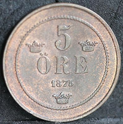 Sweden, 5 Ore, 1875. Uncirculated UNC With Lustre