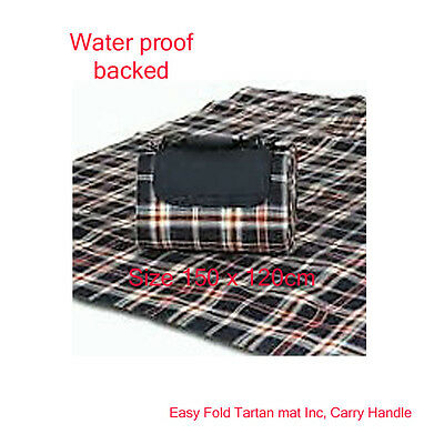 2 Large Picnic Mats Tartan Fleece Waterproof  Outdoor Beach Camping Blanket