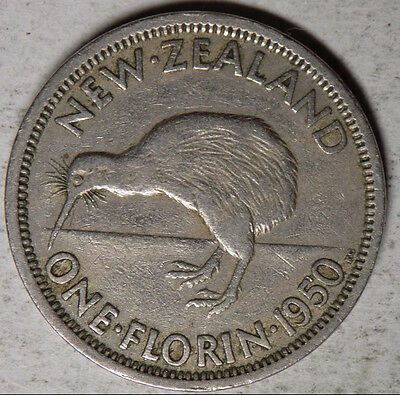 New Zealand 1950 1 Florin (2 shillings) coin