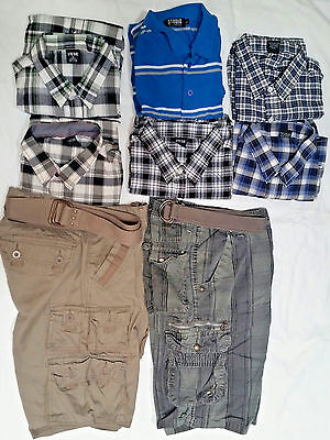 boys lot of 2Blue Rags cargo shorts Size 30-32  & 6 Short sleeve shirts size L