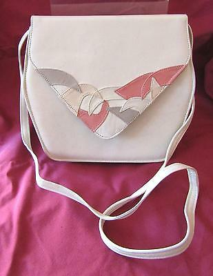 Vintage  Cream Leather Clutch/Shoulder bag with Patchwork detail Late 1980's