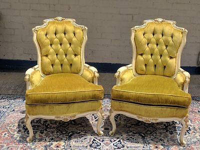 Vintage French Louis XIV XV XVI Carved Armchairs - Golden Green