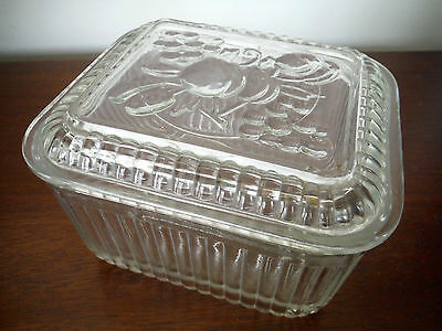 Vintage Clear Glass Refrigerator Dish Box w/ Lid Cover Fruit EXCELLENT