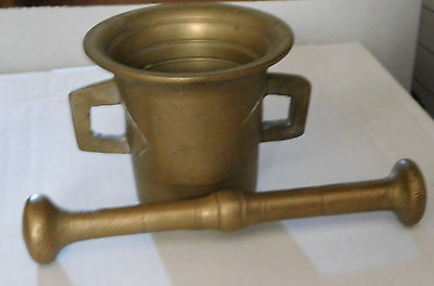 Vintage Antique Heavy Solid Brass Mortar and Pestle Set