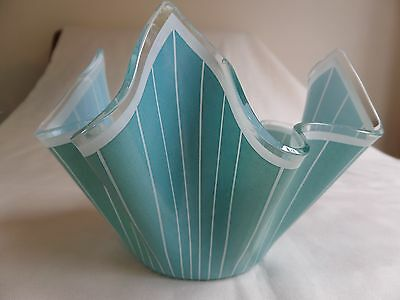 Vintage Chance Glass Handkerchief Vase Green And White