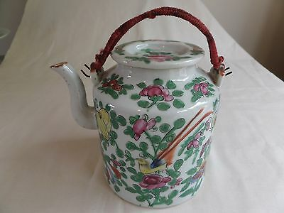 Antique Chinese Porcelain Famille Rose Tea Pot And Cover
