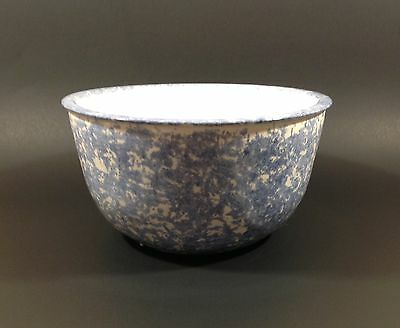 """Vintage Blue Spongeware 8"""" Bowl  Signed Beau 3 Blue and White Mixing Serving"""