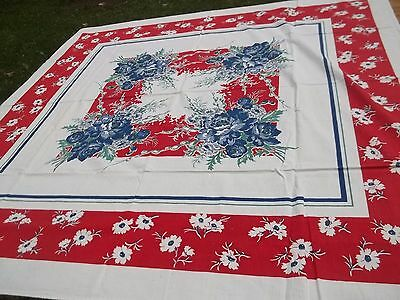 """Vintage Red & Blue Flowers Print Tablecloth 49"""" x 50"""" Floral Printed TC42"""