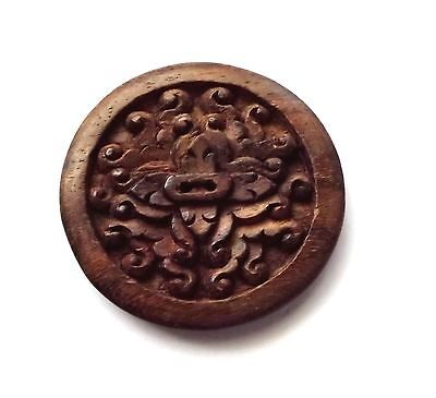 Large Carved Wood Button #2603