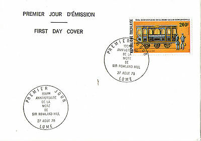 Togo 1979 Centenary Of The Death Of Sir Rowland Hill Railway First Day Cover Shs