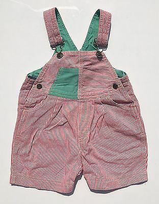Vintage 80s 90s Red White Pinstripe Cotton Denim Dungarees Age 12 18 Months