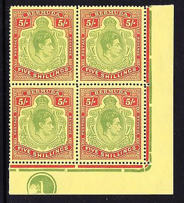 BERMUDA 1938-53 5/- YELLOW-GREEN & RED PERF 13 IN PLATE BLOCK SG 118f MNH.