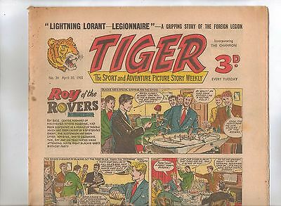 Tiger Comic No 34 (1955) - VG/VG+ - Roy of the Rovers