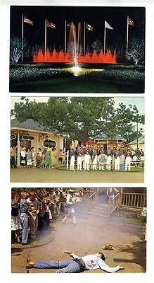 5 Six Flags Over Texas Postcards  US Texas & Mexican Sections