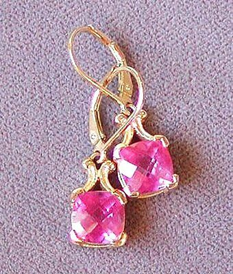 ESTATE SYNTHETIC RUBY 18K YELLOW GOLD over STERLING SILVER LEVER BACK EARRINGS !