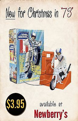 Cool 1973 Evel Knievel Gyro Stunt Cycle Toy Store Front Display Repo Poster