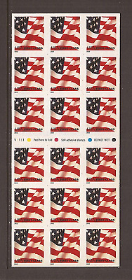 US ~ #3625a 2002 37c 1ST CLASS RATE US FLAG Booklet Pane of 18 - MNH