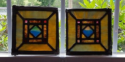 Lot Of 2 Small Stained Leaded Glass Church Windows For Repurposing