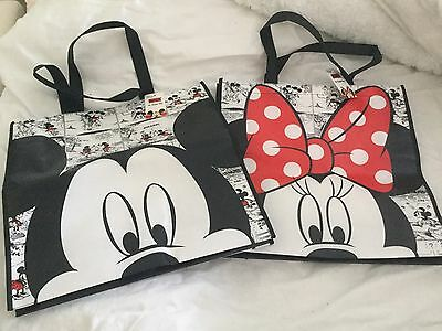 Brand New Reusable Mickey And Minnie Mouse Shopping Tote Bags With Tags