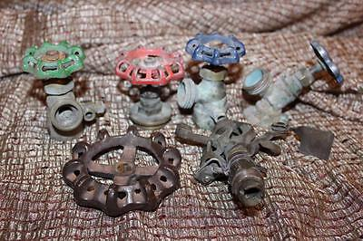 6 Pc Vtg Steampunk Plumbing Lamp Art Parts Faucet Spickets Handles Sprinkler