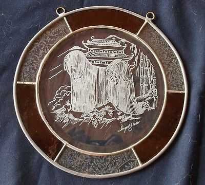 Tibetan Terrier- Gorgeous Hand engraved panel by Ingrid Jonsson