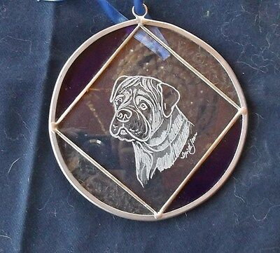 Bullmastiff- Combination Hand Engraving and Srained Glass  by Ingrid Jonsson