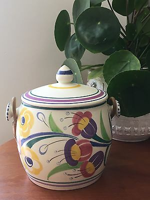 Vintage Poole Pottery Biscuit Barrel With Wicker Handle