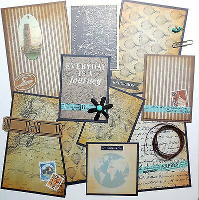 Pre-Made Scrapbook Photo Mat Set Travel Vacation Journey 19 pc w/ Embellishments