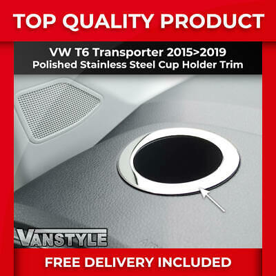 Vw T6 15+ Transporter & Caravelle Dash Cup Holder Surround Trim Stainless Chrome