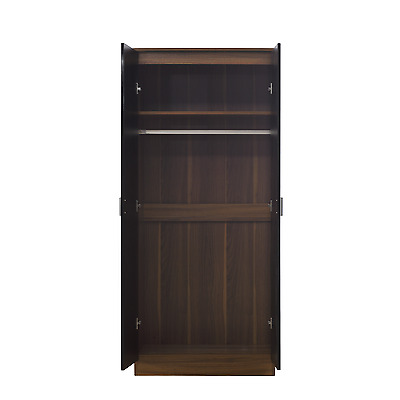 2 Door Soft Close Plain Wardrobe REFLECT in Gloss Black / Walnut  - Bedroom